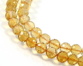 4th July Sale Genuine Citrine, 6 mm, Micro Faceted Round Beads, 6 pcs, Drilled Ball Beads, Briolette Yellow Beads, November Birthstone
