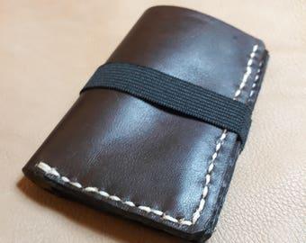 Wallet compact Brown hand-made ultra slim pocket wallet