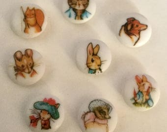 Lot 8 Beatrix Potter Character Animal Picture Buttons Vintage Variety