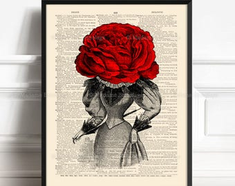 Enchanted Rose, Husband Birthday Art, Unique Gift Poster, Red Rose Decor, Coworker Xmas Gift, Valentine Gift Print, Gift For Mom, Love  274