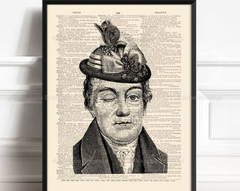 Victorian Headdress, Cabinet Curiositè, Gay Couple Gift, Funny Home Print, Gift for Her 15th, Geekery Decor, Victorian Hipster, Wall 300