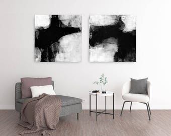 Abstract Painting, Minimalist Art, Black & White Wall Art, Scandinavian Prints, Set of 2 Prints, Large Abstract Painting, Oversized Wall Art