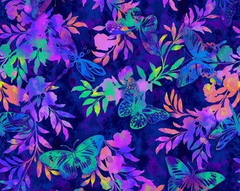 Aflutter and Fern in Indigo by Elizabeth Isles Studio E quilting cotton fabric by the yard metre purple blue floral