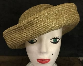 CLEARANCE SALE Vintage 50s Look Paula's Hatbox Gold Straw Sailor Hat