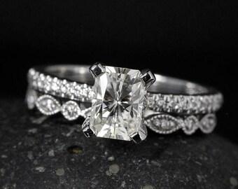 FLASH SALE Radiant Cut Moissanite Ring - Forever Brilliant Moissanite - Milgrain Wedding Band
