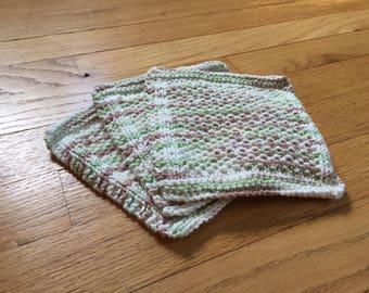 Hand knit cotton dishcloths - Set of three - white brown green - washcloth, face cloth