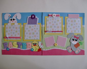 Happy Easter - 2, 12 x 12 Paper Piecing Pre-Made Scrapbook Pages Die Cuts