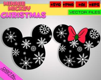 Mickey Minnie christmas Ear Hat SVG cricut Snowflake, Disney Christmas Hat SVG, Disney Cut Files in svg eps png Printable Clipart santa hat