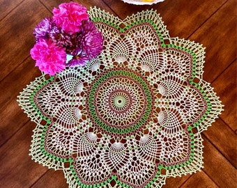 Spring Lace Doily - Crochet Flower Doily - Coffee Table Doily - Pineapple Crochet Doily - Rustic Decor - Spring Decor - Housewarming Gift