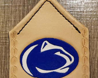 Nittany Lion Flyswatter Hand-tooled Hermann Oak Leather Flyswatter, Hand Saddle-stitched, Heavy-duty Metal Handle