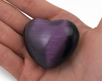 Puffy Palm Heart Dark Purple Fiber Optic Cats Eye Glass Large Hand Carved Love