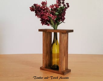 Wine bottle vase, Table decor, Wood bottle vase, Bottle flower vase, Rustic centerpiece, Coffee table decor, Framed bottle vase, Bud vase