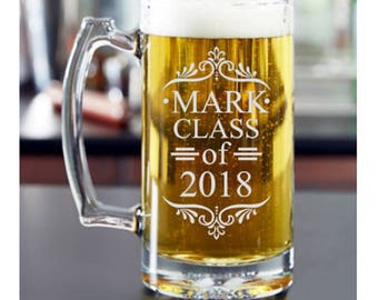 Graduation Gift for Him, Class of 2018, Graduation Gift for Her, Graduation Beer Mug, Graduation Party, Graduation Glass, College Graduation
