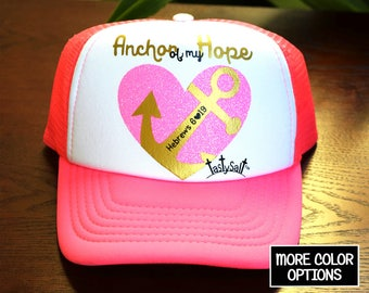 Anchor of my Hope Trucker Hat / cap, mesh, Christian hat, women's hat, women's trucker hat, Christian trucker hat, nautical, ocean, sailing