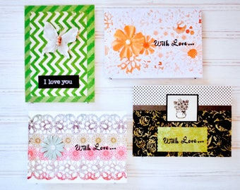 LOVE Greeting Card Set - 4 Unique Handmade Love Cards / I Love You Homemade Cards / One-of-a-Kind Cards / Blank Cards / Card Gift Set