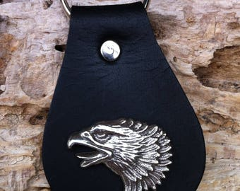 Leather keychain with Eagle