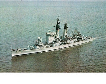Vintage 60s Military Navy Boat Ship Postcard USS Columbus Guided Missile Cruiser 1944 - 1977 WWII Era Unposted