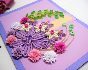 Original greeting card,Handmade paper quilled thank you card,Filigrana flowers paper card,Beautiful Birthday Ideas,Quilling Paper card