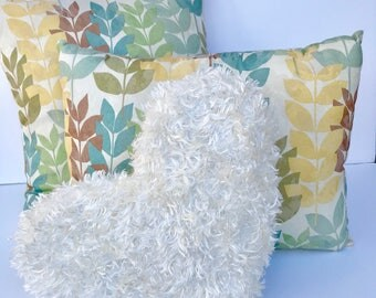 """3 piece pillow set 16x16"""" and 12x16"""" Forest Fantasy  and 11x13"""" heart Cuddle Cream"""