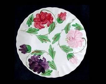 "Blue Ridge Plate KAREN 9.25"" Lunch Vintage Pottery Southern Potteries Dinnerware Hand Painted Red Pink Purple Flowers (B7) 6711"