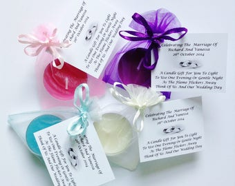 5 x Personalised Scented Candle Wedding Favours/Gifts For Your Guests - FREE UK POSTAGE
