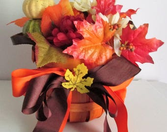 Fall Themed Silk Flower Basket Arrangement featuring a Pumpkin Pick and a Handmade Bow