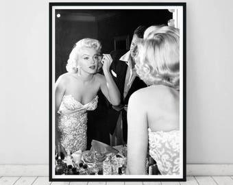 Marilyn Monroe wall art • Marilyn Monroe photograph Makeup print Vintage photo Actress photograph Makeup Marilyn Monroe print Marilyn art