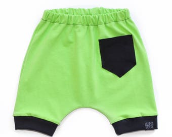 Lime Green Pocket Harem Shorts