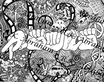8x10 PEACE Finger spelled  zentangle matte Print