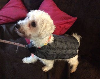 Wool checked small dog coat/puppy coat