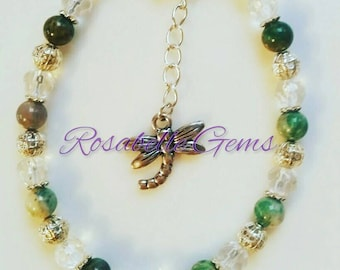 Jasper Bracelet, Green Jasper, Gemstone Bracelet, Green Jasper Bracelet, Crystal Bracelet, Gemstone Jewelry, Gift For Her, Gift For Mum