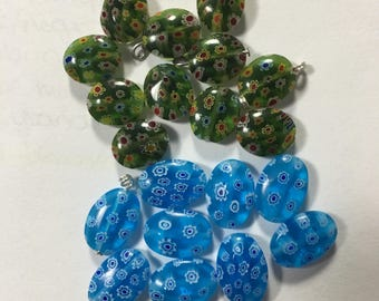 Oval Millefiore beads [5 beads]