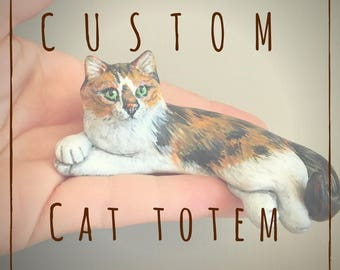 Custom Cat Totem Pet Portrait Figurine Handmade Sculpture