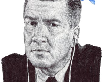 David Lynch, Gordon Cole, Twin Peaks, 1990s, Director, portrait, art print, print, giclee, blue rose,