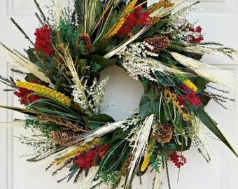 "18""wreath, preserved wreath, pinecone wreath, leaf wreath, dried wreath, salal wreath, preserved wreath, natural wreath,  wreath"