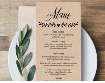 Printable Menu Card Template, Rustic Wedding Dinner Menu, Fully Editable Template, Instant Download, Digital, DIY, Kraft #NC-106WM