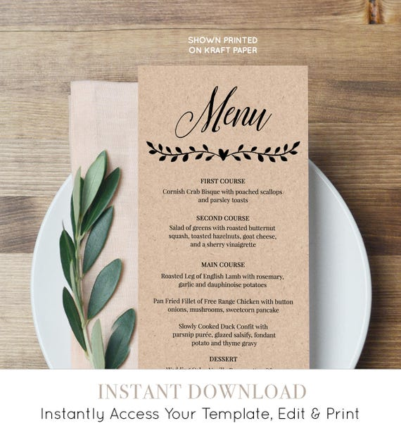 Printable Menu Card Template, Rustic Wedding Dinner Menu, Fully Editable Template, Instant Download, Digital, DIY, Kraft #NC-106WM