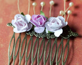 Beaded and floral hair comb
