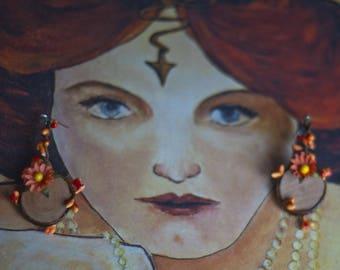 Elven tone orange earrings