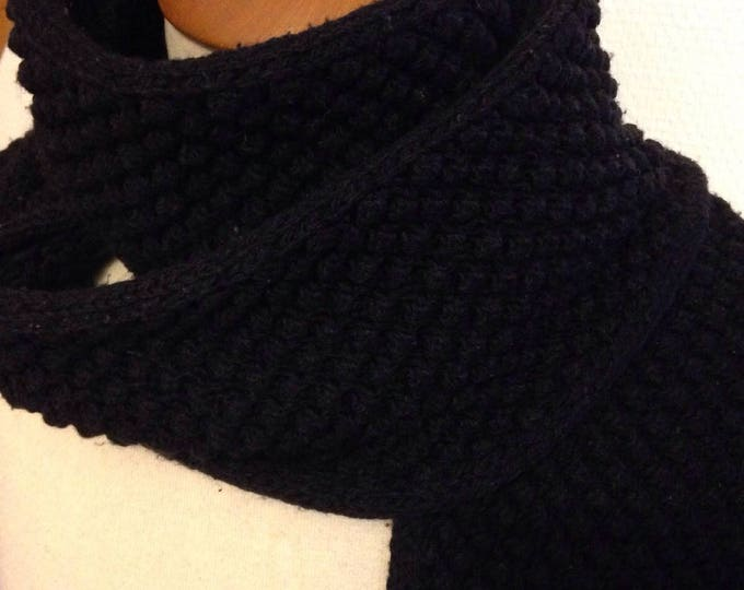 Mixed black scarf, knitted in acrylic, not itchy