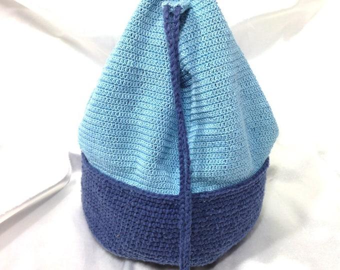 Silk and cotton blue bucket bag