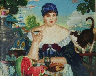 "Handmade Petit Point Gobelin ""Merchant's Wife at Tea"" (after Boris Kustodiev  painting)"
