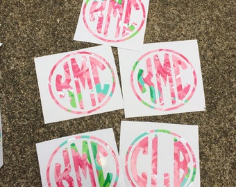 Lilly Pulitzer Decal, Lilly Pulitzer Monogram Decal, Lilly Pulitzer Decal for Yeti Cup, Lilly Pulitzer Car Decal, Laptop Decal