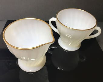 Anchor Hocking, White Swirl, Golden Anniversary, Sugar and Creamer/Mini Pitcher (1950's)
