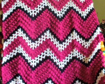 Red,Black and White Afghan