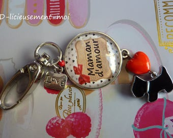 Keychain cabochon 25 mm glass lobster bag black dog charm and MOM love day.
