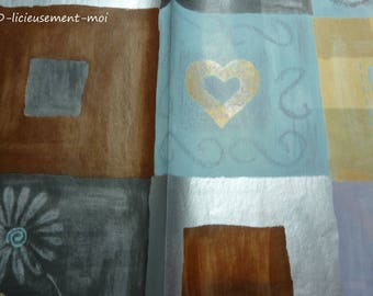Decopatch Brown gray blue heart for decoration and collage sheet
