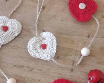 Crocheted hearts Garland and Bell