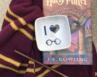 Harry Potter Gift- Harry Potter Ring Dish - I Heart Harry Potterr Jewelry Ring Dish - HP Fan Art - Ring Holder - Mother's Day Gift - Trinket