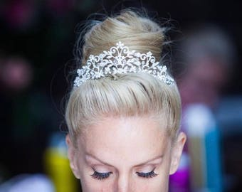 Wedding tiara, crystal tiara, tiara, wedding hair accessories, bridal accessories, princess tiara,  Swarovski tiara, free shipping